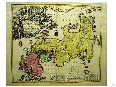 Orig oldcol coppermap Seutter  JAPAN REGNI JAPONIAE