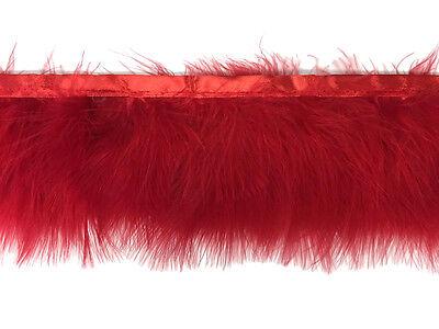 1 Yard - Red Marabou Turkey Fluff Feather Fringe Trim Fashion, Party, Wedding
