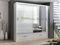 **7-DAY MONEY BACK GUARANTEE**- Marseilles High Gloss Sliding Door Luxury Wardrobe with LED Lights
