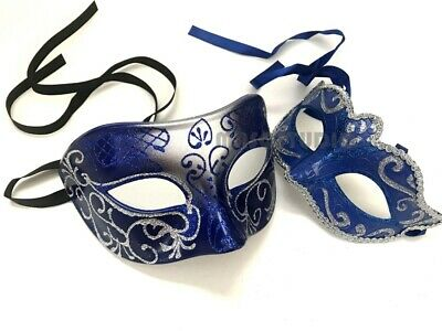 Blue Masquerade Ball Mask Pair Daddy Daughters Dance Prom Birthday Prom Party](Mask Ball Masks)