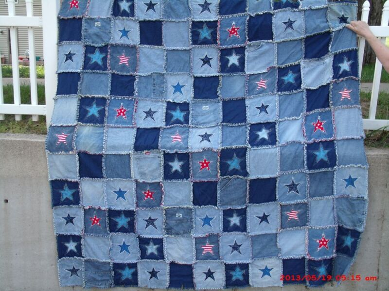 DENIM & FLANNEL RAG QUILT PATTERN & plastic templates RECYCLE JEANS  BY LYNDA