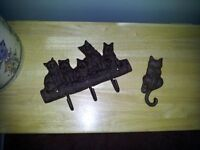 Cast Iron Cats Key Holder & Door Knocker - Great for Cat Lovers