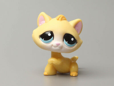 Littlest Pet Shop Yellow Kitten Cat w/ Turquoise Eyes Paw up #1035 LPS Vintage