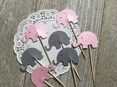Pink Shimmer and Grey Elephant Cupcake Toppers - Baby Girl Shower Set of 24
