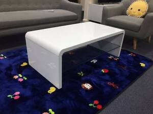 Brand New High Gloss Coffee Table with glass Black/White (J715)