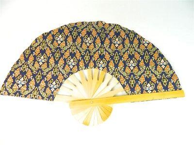 Handheld Fan - Folding Bamboo Fan - Thai Leaf Fabric - Midnight Blue