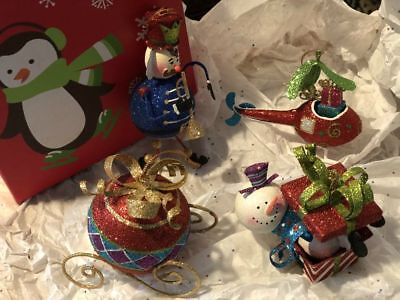 Lot 5pc Vintage Glitter Christmas Ornaments Carriage Soldier Snowman Helicopter (Glitter Christmas Ornaments)
