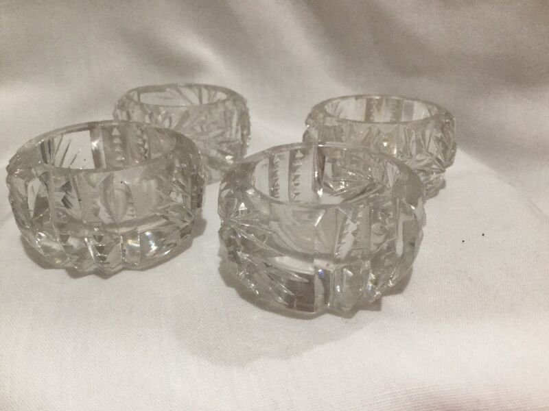 Set Of 4 Cut Crystal Salt & Pepper Cellar Lot - Vintage