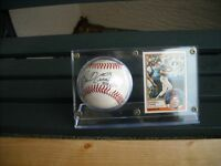 AUTOGRAPHED DARRELL EVANS BASEBALL & CARD IN ACRYLIC HOLDER