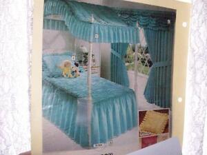 Twin Bedspread, Pillow Sham, Curtains + Valance (Aqua)