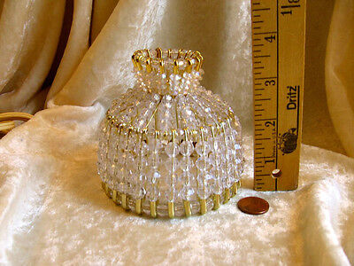 BEADED SHADE FOR WINDOW TABLE NIGHT LIGHT ELECTRIC CANDLE CRYSTAL CLEAR