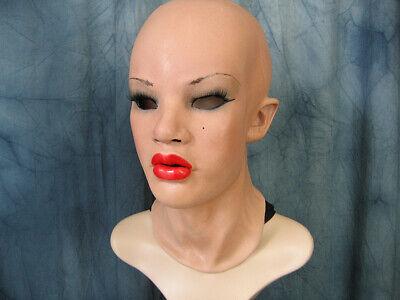 Latexmaske MAYLEE RED + WIMPERN weibliches Frauengesicht Frau Crossdresser Trans
