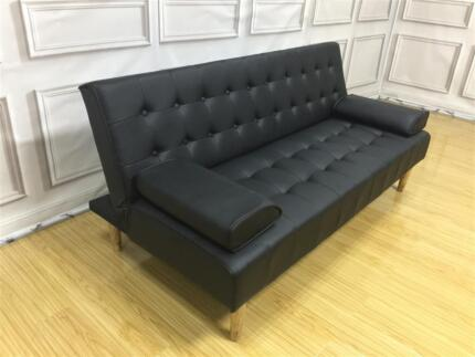 Brand New 206 Plus Leather Black cost-effective Sofa Bed