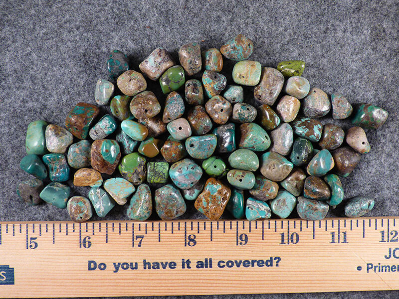 (10) Original Navajo Indian Turquoise Trade Beads Nugget Size Fur Trade 1800