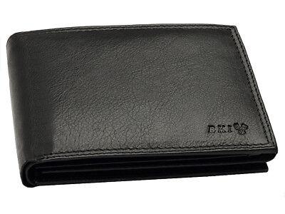 Schwarze Geldbörse Echtleder Brieftasche Geldbeutel Portemonnaie mit RFID (Schwarze Leder Geldbörse)
