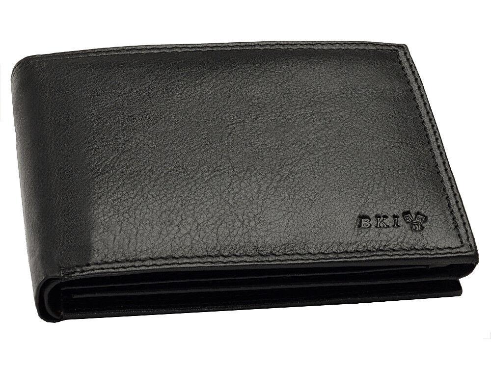 Schwarze Geldbörse Echtleder Brieftasche Geldbeutel Portemonnaie mit RFID Schutz
