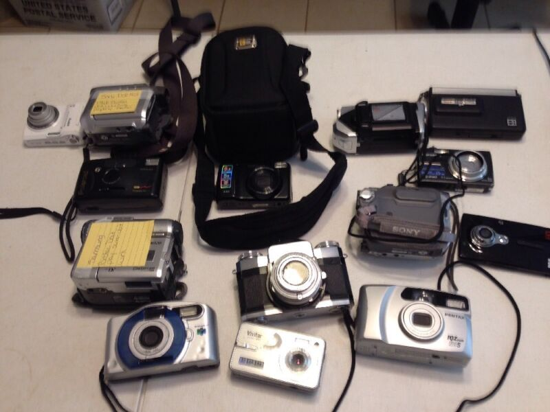 Huge Camera Lot! Includes 14 Cameras/Camcorders- Pentax, Sony, Kodak, Samsung
