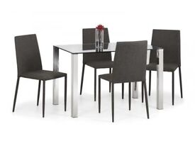 *FAST & FREE UK DELIVERY* Modern Glass Kitchen Table Set with 4 Slate Grey Fabric Jazz Chairs