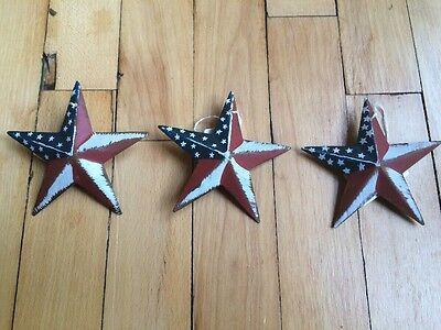 (Set of 3) PATRIOTIC AMERICANA BARN STARS 3.5