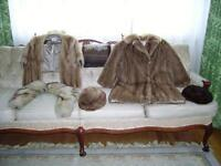 Mink coat and stole, 2 mink hats and a scarf