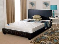 🌷💚🌷BRAND NEW 🌷💚🌷CASH ON DELIVERY 🌷💚🌷 LEATHER BED-DOUBLE SIZE FRAME -BLACK-BROWN & MATTRESS