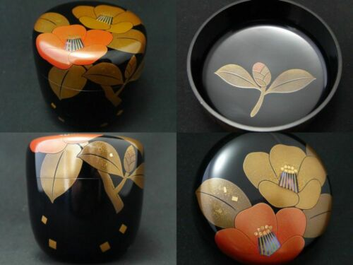 Japanese WAJIMA Lacquer Wooden Tea caddy CAMELLIA makie Rikyu-Natsume (401)