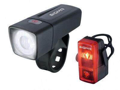 Sigma Fahrrad Beleuchtungsset Frontleuchte Rücklicht Set LED Aura 25 Cubic  ()