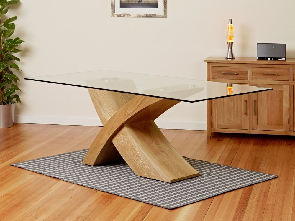 Glass Top Oak Cross Base Dining Table 200cm In Hull