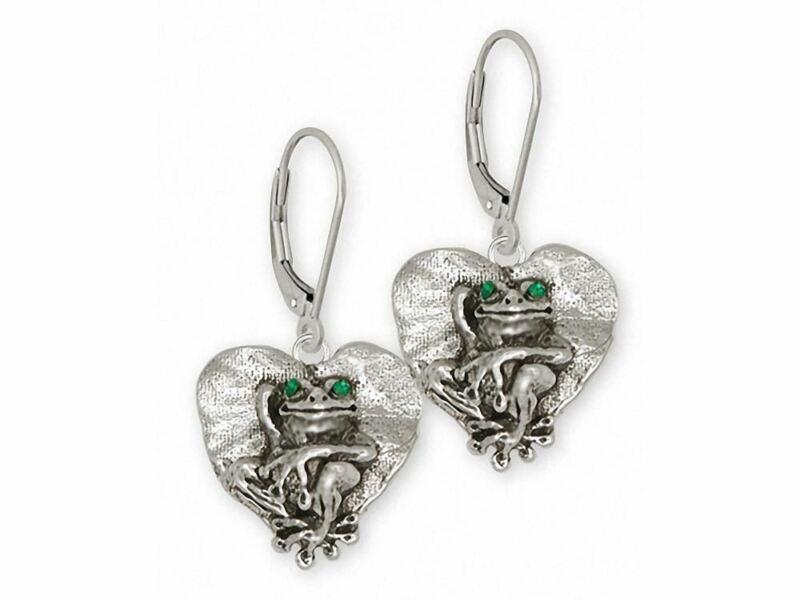 Frog Earrings Jewelry Sterling Silver Handmade Frog Earrings FG25-XE