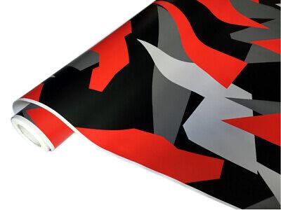 Camouflage Autofolie 50cm x 152cm Luftkanäle Schwarz weiß Grau Rot #33