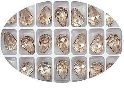 6 Crystal Honey, Preciosa Czech MC Pear Beads, tear drop shape 18x12mm, P322