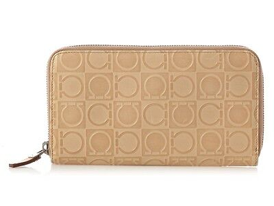 FERRAGAMO Beige Embossed Spago Ziparound Wallet ~ A nice neutral look!