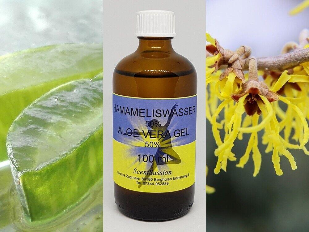 Aloe Vera Gel flüssig 50% mit Hamameliswasser 50% 100 ml unparfümiert
