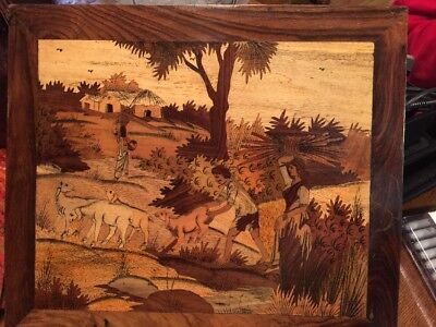 India Vtg inlaid marquetry wood scene Sheep Field Workers Gathering Harvest