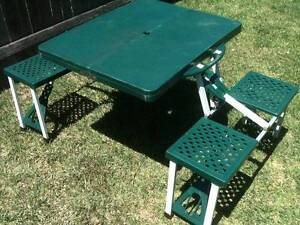 Portable Folding Camping Picnic Patio Table with Integrated Seats Bexley Rockdale Area Preview