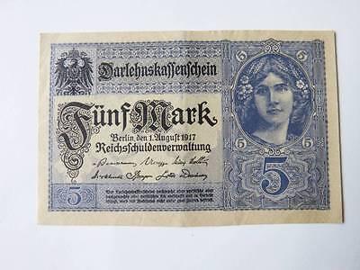 Darlehnskassenschein 5 fünf Mark Reichsschuldenverwaltung August 1917  '17