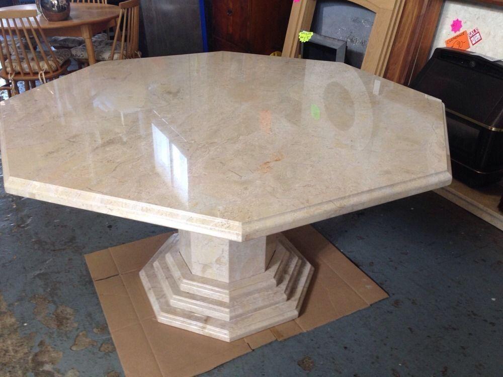 Cream Solid Marble Octagonal Dining Table 140cm Diameter Stunning Luxury