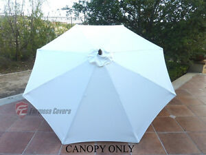 9ft Patio Outdoor Yard Umbrella Replacement Canopy Cover Top 8 Ribs Off  White
