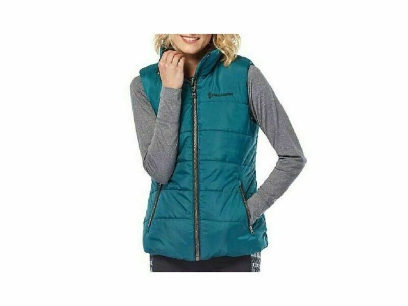 FREE COUNTRY LADIES ULTRAFILL PUFFER VEST JACKET IN STEEL TEAL, SIZE XL