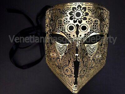 Masquerade Ball Costumes Men (Men's metal Bauta Masquerade ball mask Full face Halloween costume Party)