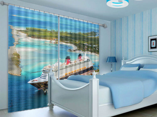 Multi Storey Cruise 3D Curtains Blockout Photo Printing Curt