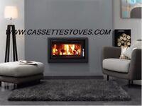 MODERN CASSETTE STOVE + FLEXIBLE FLUE KIT + SLATE HEARTH + FREE DELIVERY WOODBURNER INSET INSERT