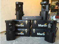 4x Martin Roboscan 812's with controller and flight cases - scanner moving head disco Dj lights