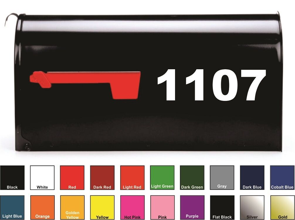Home Decoration - SET OF 2 Custom Mailbox Numbers Vinyl Decals / Stickers - Choose Size & Color