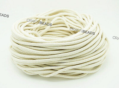 Natural White 100% Cotton Braided Cord Rope Craft Macrame Artisan Draw String  ()
