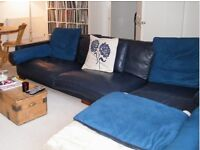Navy Blue Leather Corner Sofa - DFS California £1150 ONO