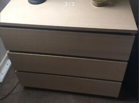 Quality Ash Light Oak Ikea malm 3 Drawer Chest Child Teenager Student Adult Family Bedroom Landlord