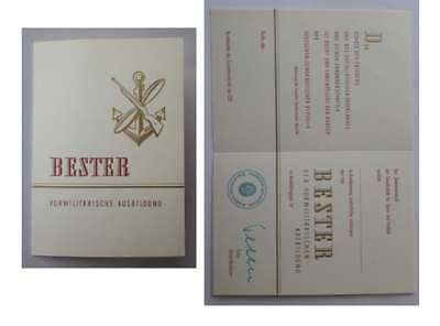 DDR GST Urkunde Bester vorm. Ausbildung  ( Unter. NVA General Leutnant Teller )