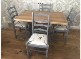 Gorgeous Painted Grey Farmhouse solid oak dining table and 4 chairs stag print cushions
