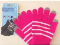 NEW BRIGHT PINK/WHITE STRIPE TOUCH SCREEN GLOVES - Unisex, Kids, Ladies, Men - One size